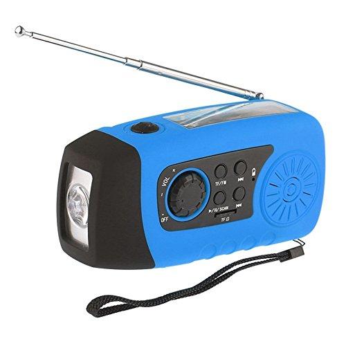 iMinker Tragbare Solar Notfall-Hand-Kurbel Self Powered FM Radio mit [2000mAh] USB-Energien-Bank, LED-Taschenlampe, MP3-TF-Karte Unterstützung für Outdoor-Camping-Wandern (blau) (Kurbel-powered Radio)
