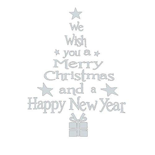 2 Stück Weihnacht Wandabziehbilder Buchstaben und Weihnachtsbaum Aufkleber Fenster Raum Zuhause Dekor Wand Abziehbild Wandbild (Weiß) (Metall Buchstaben Y, Wand-dekor)