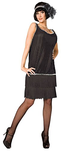 Black Charleston Flapper UK 10-12 Ladies Fancy Dress 1920s 20s Womens ()