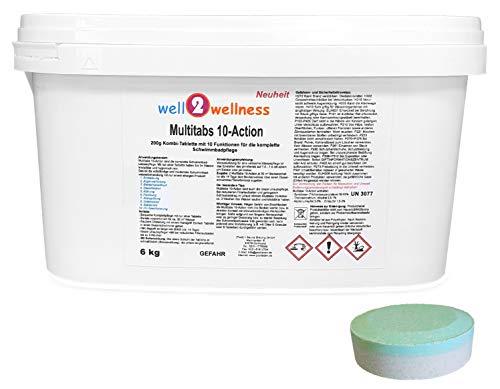well2wellness Chlortabletten Multitabs 10-Action 200g mit 10 Funktionen - 6,0 kg Eimer - Komplette 90 Tabletten