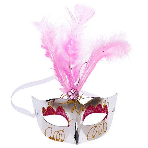 MagiDeal Halloween venetianischen Maskerade Maske mit Federn - (Mit Maske Venezianischen Federn Maskerade Rosa)