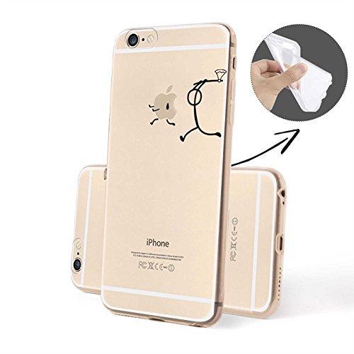 FINOO Handyhuelle Trasparente Silicone Motivo 2 - Targa TPU, iPhone 6/6S Figura stilizzata TPU