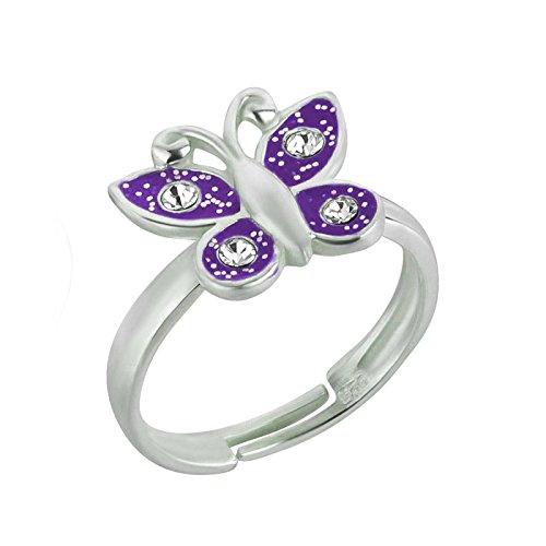 SL-Silver Mädchen Damen Ring Schmetterling Kristalle Grösse einstellbar 925 Sterling Silber in Geschenkverpackung (Lila)
