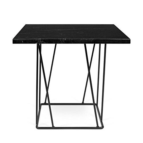 Paris Prix - Temahome- Table D'appoint Design Helix 50cm Marbre Noir & Métal Noir
