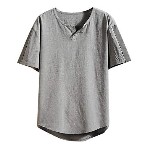 Shirt Herren, Sommer Rundhalsausschnitt Tops Fünf-Ärmel lose Kurze Ärmel Hemd Mode Atmungsaktiv Bluse Sweatshirt Baumwollshirt (Grau,XXXL