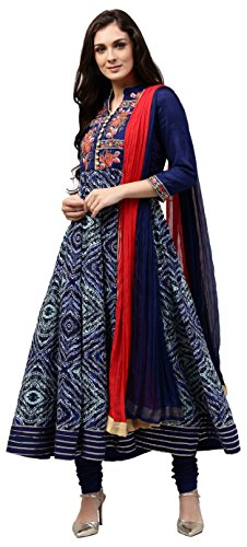 Rain and Rainbow Women's Anarkali Rayon Salwar Suit (Pack of 3) (SKD-5513-AW-808-01_Blue_XL)