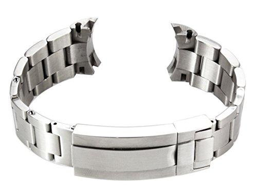Uhrenarmband SOLID STEEL TWO 21mm Edelstahl-Armband massive Edelstahl-Glieder Flip-Lock Faltschließe