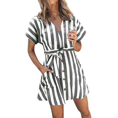 B-commerce Damen Kurzarm V-Ausschnitt Gestreiftes Oberteil über dem Knie Kleid mit Gürtel Damen Button Down Bohemian Dress Tie Taille mit Tasche