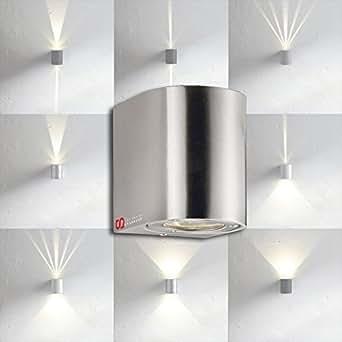 licht trend led wandleuchte ip44 lichtfilter 2x3w edelstahl beleuchtung. Black Bedroom Furniture Sets. Home Design Ideas