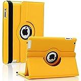 KolorFish IRotation 360 Degree Rotating Leather Flip Stand IPad Case Cover For Apple IPad 2, IPad 3, IPad 4 (Yellow)