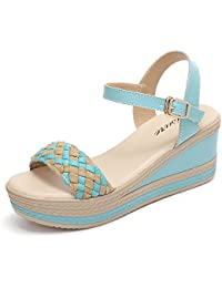 HAIZHEN Frauenschuhe Weiszlig;/Blau/Gelb Weiblicher Sommer Woven Sandalen Fashion High Heels s Tudent Sandalen (65cm