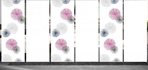 wohnfuehlidee 6er Set Raumteiler Deko blickdicht NESLIE flieder, Höhe 245 cm, 3x Dessin/3x weiß -