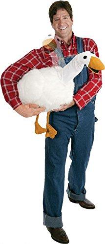 Action-Kostüm Farmer mit Gans unter dem Arm und beweglichem Tierkopf