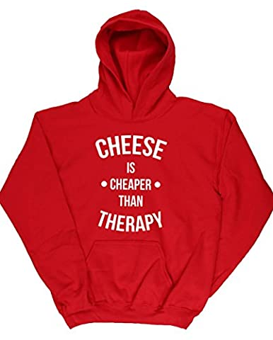 HippoWarehouse Cheese Is Cheaper Than Therapy kids unisex Hoodie hooded top