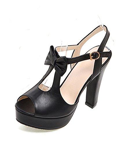Aisun Femme Mode Nœud Papillon Salomé Sandales Avec Boucle Noir