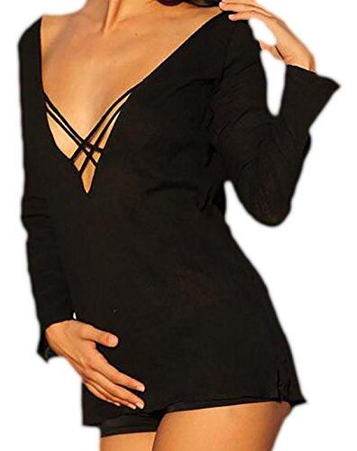 erdbeerloft Damen Easy Langarmshirt mit Schnürdetails, 3442, Viele Farben  Schwarz