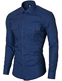 MODERNO Chemise Homme Slim Fit Casual Manches Longues Imitation Denim (MOD1446LS)
