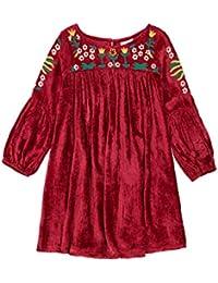 Masala Baby Little Girl's Belle Dress Velvet Dress, Red, 4Y