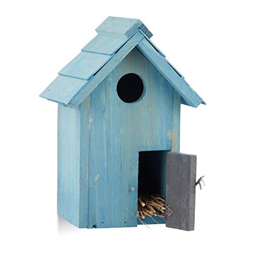 Relaxdays Nistkasten, Vogelhäuschen, Holz, Tür, aufhängen, kleines Flugloch, Singvögel, HBT: 24,3 x 17 x 12 cm, hellblau