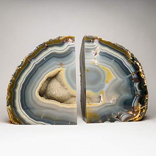 Astro Gallery of Gems Buchstützen, Achat, Geode, groß, Hellblau