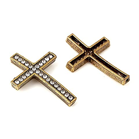 Bronze Croix Bords connecteur Perles métal blanc clair pavé de cristaux strass Spacer Bracelet Shamballa, 30PC à la Eart