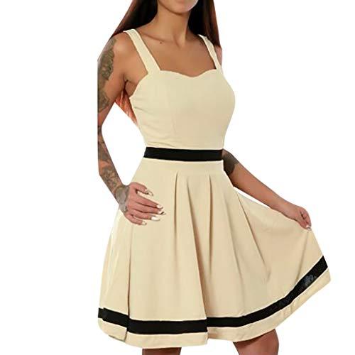 SEWORLD Karneval Damen Lose Schöne Damen Qualität Solide Reizvoller Ärmellose Normallack Minikleid Feiertags Strand Weinlese Kleid Rockabilly Kleid(Khaki,EU-38/CN-L)