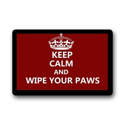 Vidmkeo Custom Machine-Washable Door Mat Keep Calm and Wipe Your Paws Indoor/Outdoor Doormat...