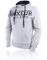 BOXEUR DES RUES Serie Fight Activewear, Felpa Uomo, Grigio Melange, L