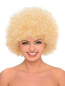 Shatchi 11801-AFRO-WIG-BLOND Peluca afro rizada para disfraz, accesorio de disfraces, payaso de discoteca, unisex, 70