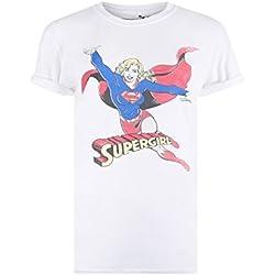 DC Comics Retro Supergirl, Camiseta para Mujer, Blanco (White Wht), 42(Tamaño Fabricante: Large)