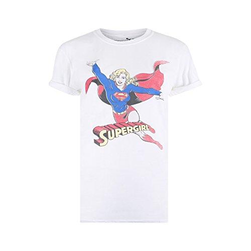 DC Comics Damen T-Shirt Retro Supergirl, Weiß (White WHT), 38(Hersteller Größe: Medium)