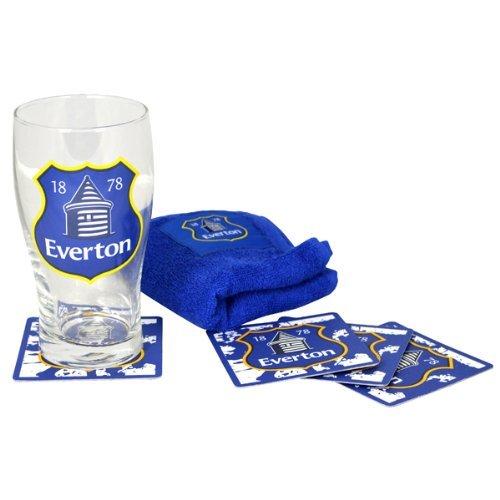Offizielle FC Everton Minibar Geschenk-Set Bierglas bar Handtuch und vier Bierdeckel -