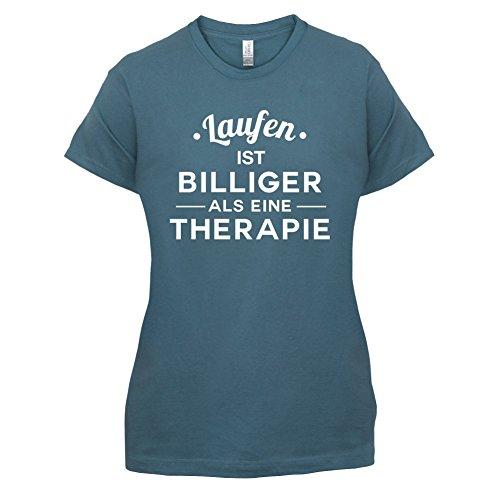 Laufen ist billiger als eine Therapie - Damen T-Shirt - 14 Farben Indigoblau