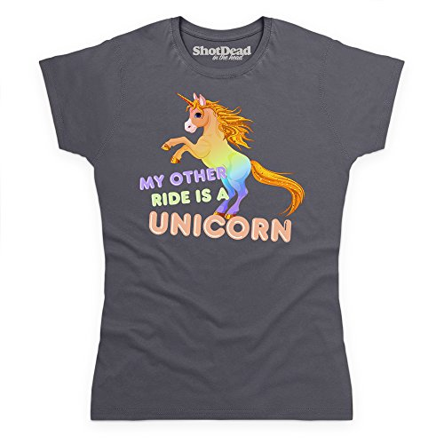 My Other Ride Is A Unicorn Funny Novelty T-Shirt, Damen Anthrazit