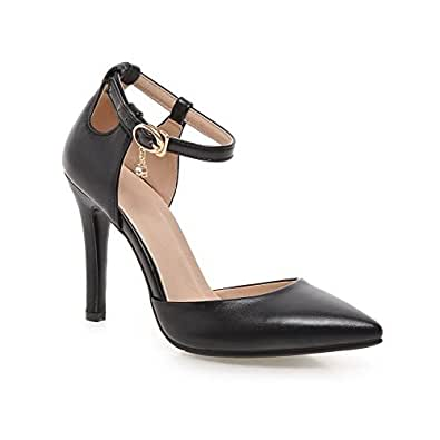 AgooLar Women's Solid PU Spikes Stilettos Pointed Closed Toe Buckle Pumps Shoes, Black, 34