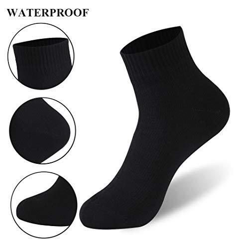 ZQFLD 100% wasserdichte Socken, Unisex Radfahren/Jagen/Fischen/Laufen Knöchel/Mittlere Wadensocken (1 Paar),Black,XS -