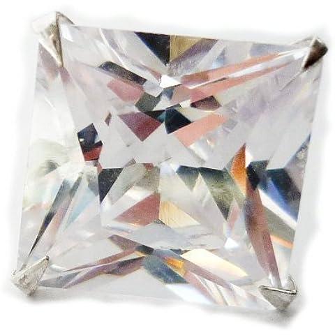 8 mm, con diamante taglio Princess da uomo, con Zirconia cubica e (CZ)-Orecchini a perno in argento Sterling (singola), Beckham Style
