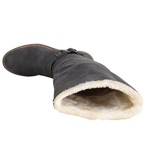 Stiefelparadies Warm Gefütterte Stiefel Damen Winterstiefel Damen Boots Schnallen Profilsohle Schuhe Kunstfell Winterschuhe Flandell Grau Schnallen