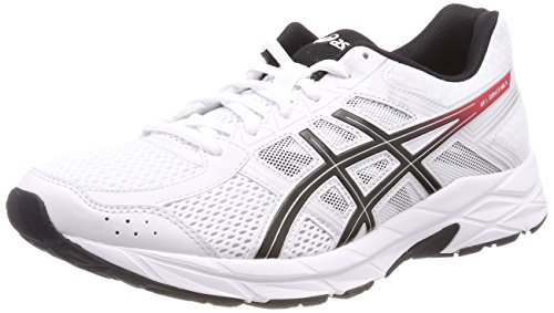 Asics Running Gel Contend 4, Zapatillas de Deporte para Hombre, Blanco (White/Classic Red/Black 0123), 42.5 EU