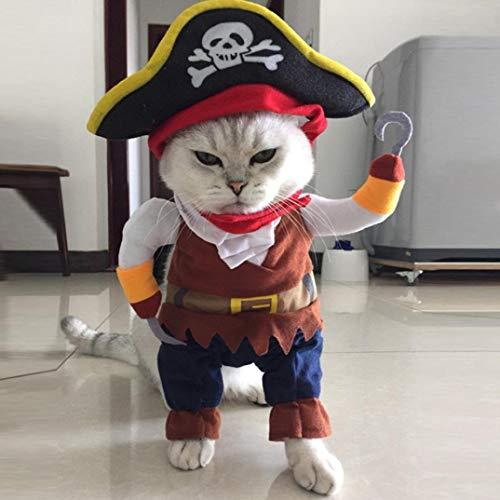 Ogquaton Costume De Costume pour Chien De Chat Pirate Costume Costume Corsair Déguisement Habits De Fête Vêtements De Qualité Premium M