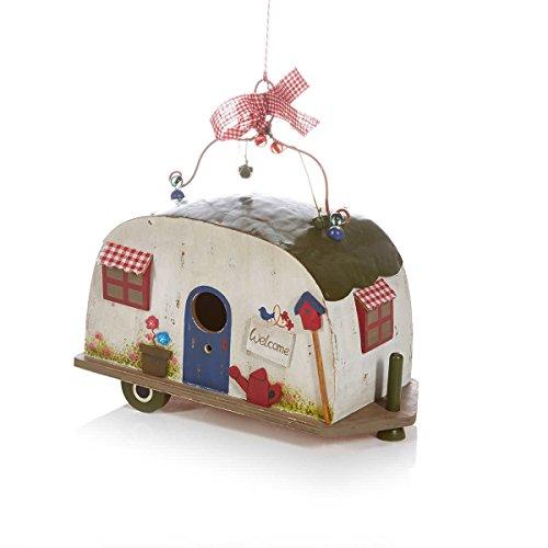 Vogelhaus Wohnwagen Camper zum Hängen Holz Blechdach - 2