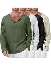 7507f48d Thai Shirt Men,Overdose Men's Summer T-Shirt Hippie Long Sleeve Shirt V-