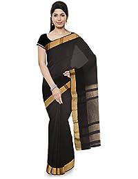 Mahima Emporium Maheshwari Handloom Cotton and Silk Saree (Black)