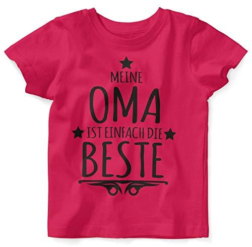 Mikalino Baby/Kinder T-Shirt mit Spruch für Jungen Mädchen Unisex Kurzarm Meine Oma ist einfach die Beste | handbedruckt in Deutschland | Handmade with Love, Farbe:himbeerpink, ()