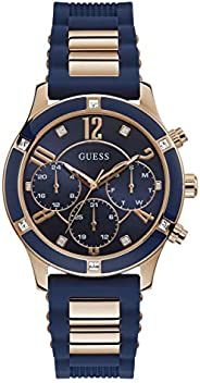 GUESS Womens Quartz Watch, Chronograph Display and Silicone Strap W1234L4