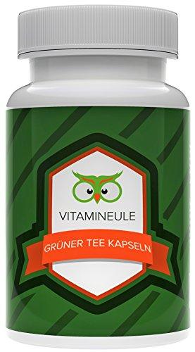 Grüner Tee Kapseln - 100 % natürliches Koffein - deutsche Laboranalytik - Qualität aus Deutschland! - kleine, vegane Kapseln mit je 333mg - 100% Zufriedenheitsgarantie - Vitamineule®