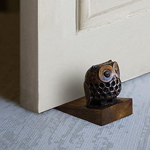 Regali di Natale Ringraziamento Porta di legno decorativo Stopper Doorstop Holder intagliato a mano a forma di bambino gufo Piano Blocker chiudiporta Jammer Mobili per la casa Décor
