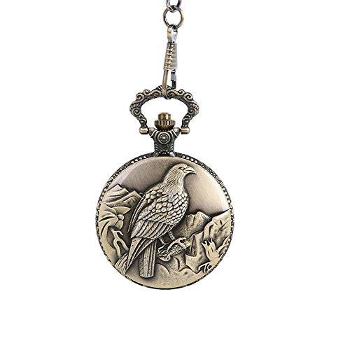 Frauen Taschen-Analog-Quarz-Taschen-Uhr-Geprägte Eagle Mountain-Muster-Halskette hängende Taschen-Uhr-Bronzen-Weinlese-Ketten Halskette Taschenuhr L -