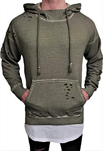 Oversize Designer Destroyed Hoodie Sweat Jacke Cardigan Hoody Pullover Shirt Herren Longsleeve m Kapuzenpullover Long Sweatjacke Skater hip...