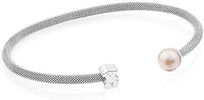 Pulsera TOUS Mesh de plata de primera ley con perla de 6,5-7mm. Motivo: 6mm.